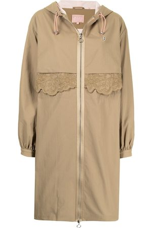 BAPY Floral-embroidered parka coat