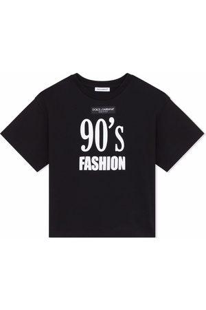 Dolce & Gabbana Girls Short Sleeve - Slogan-print T-shirt