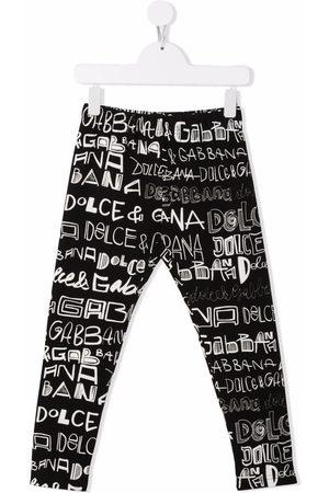 Dolce & Gabbana Girls Leggings - Doodle logo-print leggings