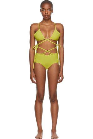 Women Bikinis - Christopher Esber Green Wrapped Tie & Loop Tie Bikini