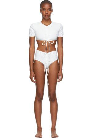 Christopher Esber White Ruched Crop & Odessa Bikini