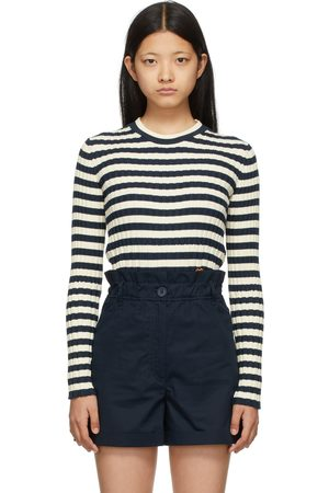 Women Jumpers - Kenzo Navy & Off- Striped Tiger Crest Sweater