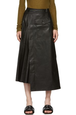 Women Leather Skirts - LVIR Faux Leather Pleated Wrap Skirt