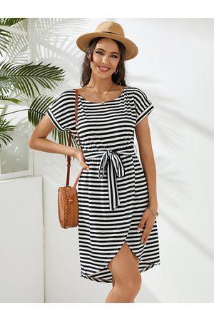 YOINS Striped Belt Design Round Neck Short Sleeves Mini Dress
