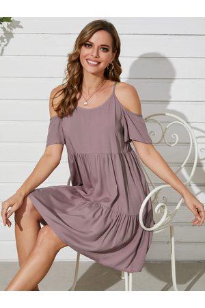 YOINS Cold Shoulder Tiered Design Short Sleeves Mini Dress