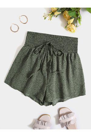 Yoins Polka Dot Shirring Drawstring Waist Shorts