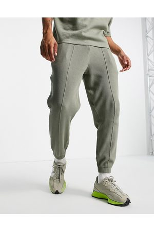 ASOS Men Sets - Co-ord tapered cargo joggers in khaki waffle