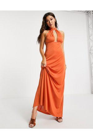 ASOS Satin 70's halter maxi dress in rust-Copper