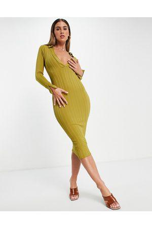 ASOS Women Bodycon Dresses - 70's super plunge flare sleeve rib midi bodycon dress in mustard-Multi