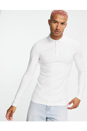 ASOS Organic cotton blend long sleeve muscle fit jersey polo in