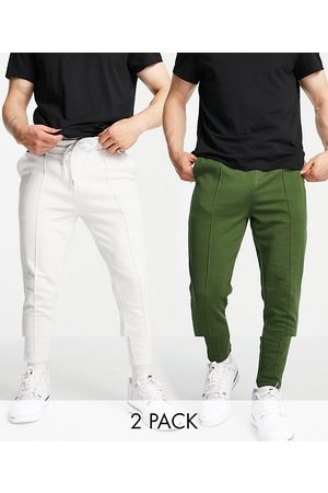 ASOS Men Joggers - Organic smart skinny joggers with pin tuck front 2 pack in green/white marl-Multi