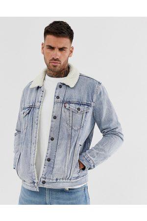 Levi's Men Denim Jackets - Levi's stonebridge denim borg trucker denim jacket in light wash