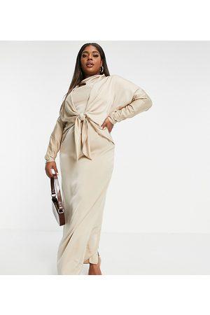 ASOS Women Maxi Dresses - ASOS DESIGN Curve batwing maxi dress with tie front detail
