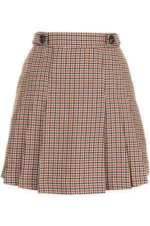 BAPY Check-print pleated shorts
