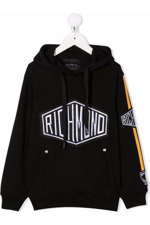 John Richmond Junior Boys Hoodies - Embroidered logo cotton hoodie