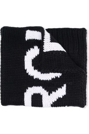 MM6 KIDS Logo intarsia knitted scarf