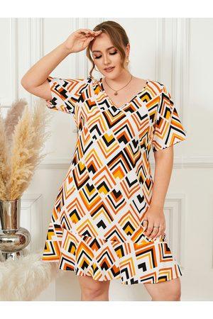 YOINS Plus Size V-neck Multicolor Short Sleeves Dress
