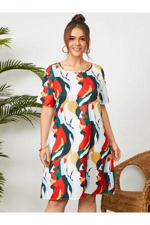 YOINS Plus Size Multicolor Round Neck Wave Short Sleeves Dress