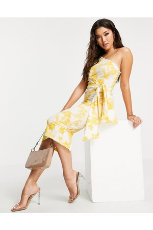 ASOS Women Printed Dresses - One shoulder belted midi pencil dress in yellow floral print-Multi