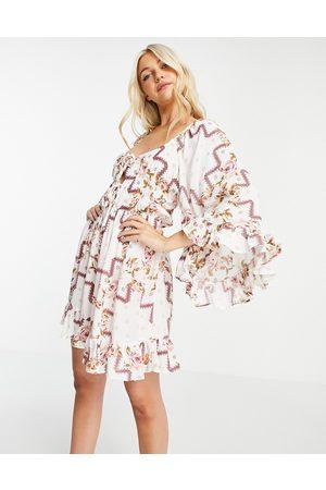 ASOS Women Casual Dresses - 70s sleeve mini dress in floral print-Multi