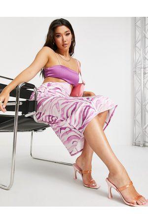 ASOS Square neck cut out satin cami midi dress in print-Multi