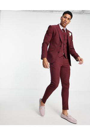 ASOS Men Skinny Pants - Wedding super skinny suit trousers in burgundy micro texture