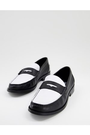 ASOS Loafers in and white leather with sole