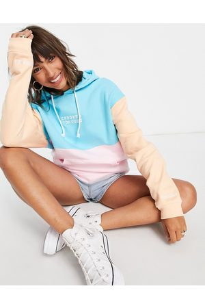 Crooked Tongues Women Sweatshirts - Oversized hoodie in colour block with crooked logo-Multi