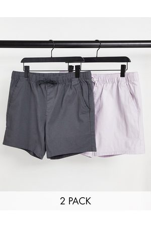 ASOS Men Shorts - 2 pack skinny shorts with elasticated waist in lilac and charcoal save-Multi