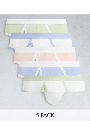 ASOS 5 pack briefs with contrast pastel waistbands-Multi