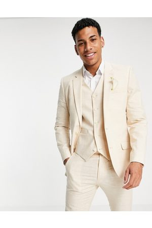 ASOS Wedding linen super skinny suit jacket with prince of wales check in stone-Neutral