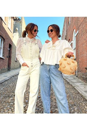 Labelrail Women Dungarees - X Collyer Twins relaxed dungarees with broderie trim