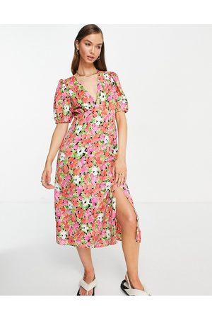 VILA Midi tea dress with v neck in bright floral-Multi