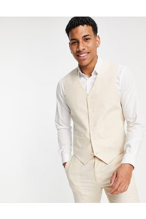 ASOS Men Waistcoats - Wedding linen super skinny suit waistcoat with prince of wales check in stone-Neutral