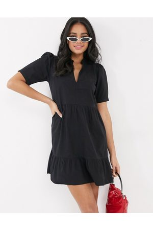 ASOS Cotton tiered mini smock dress in