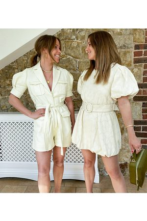 Labelrail X Collyer Twins mini dress with buckle belt and puff sleeves in broderie-Neutral