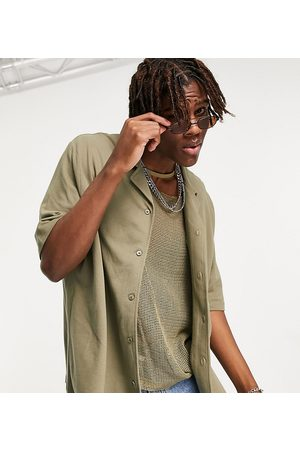 COLLUSION Oversized jersey shirt in khaki pique fabric co-ord