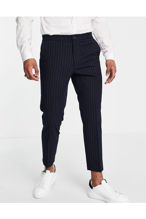 Harry Brown Men Chinos - Carrot fit pinstripe trousers with elasticated waist-Navy