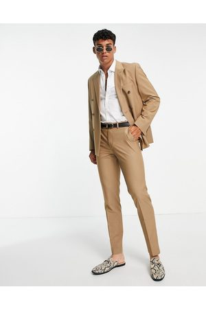 ASOS Slim double breasted suit jacket in camel-Neutral