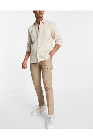 ASOS DESIGN Cargo skinny smart trouser in stone-Neutral