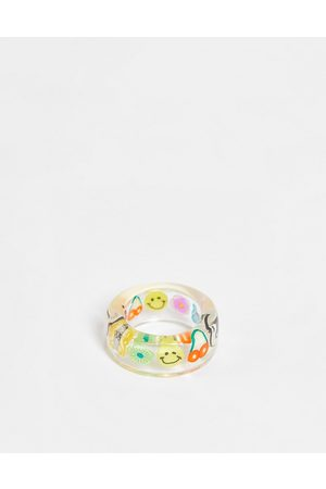 ASOS Plastic ring with trapped kitsch charms in clear