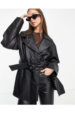 ASOS Faux leather mum belted jacket in