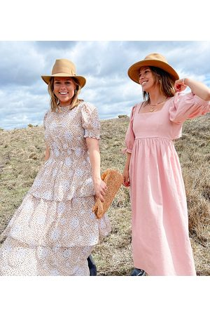 Labelrail X Collyer Twins midaxi dress with tiered skirt in broderie spot-Multi