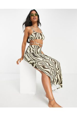 ASOS Slinky strappy maxi beach dress with ring detail in illusion print-Multi