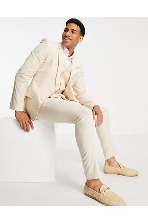 ASOS Wedding linen super skinny suit trousers with prince of wales check in stone-Neutral