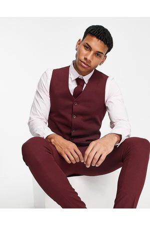 ASOS Wedding super skinny suit waistcoat in burgundy micro texture