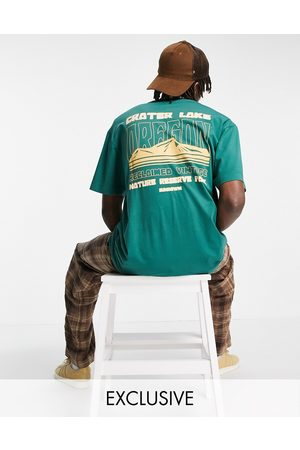 Reclaimed Inspired organic cotton relaxed t-shirt with Oregon graphic in