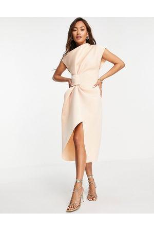ASOS DESIGN Women Pencil Dresses - High neck tuck midi pencil dress in -Neutral
