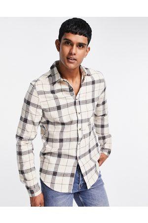 ASOS Regular check shirt in ecru-Neutral