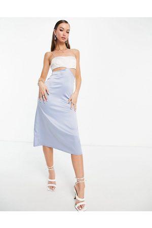 ASOS Women Midi Dresses - Square neck cut out satin cami midi dress in silver & pale blue-Multi